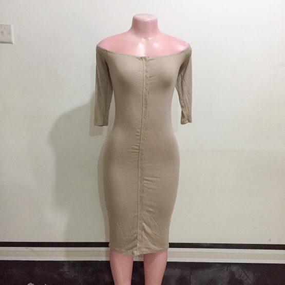 Ladies Beige Fitting Off-shoulder Dress (Size 8-10)