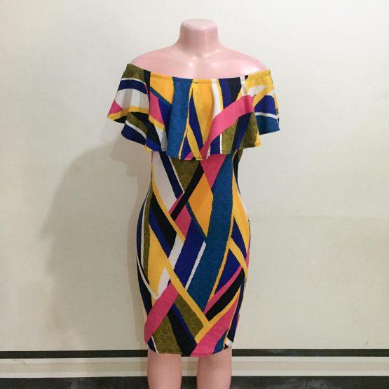 Colour Print Off-Shoulder Dress (Size 8&10)