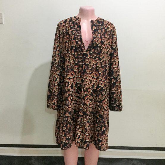 Black & Brown Colour Print Dress (Size 16&18)