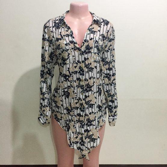 Black & White Floral Print Blouse (Size 14-16)